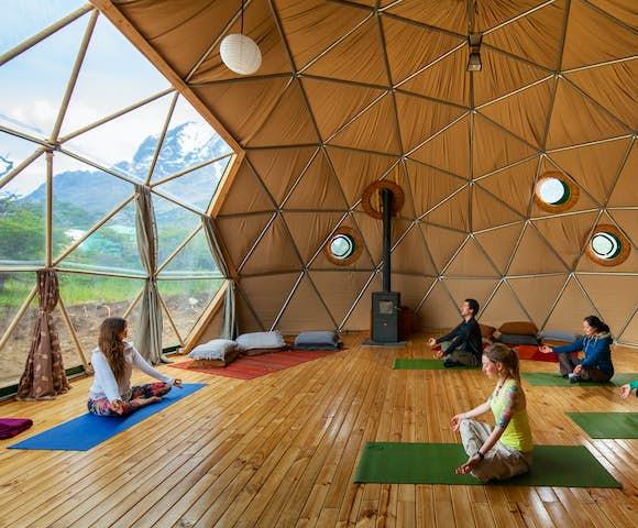 Yoga class at Eco Camp, Patagonia