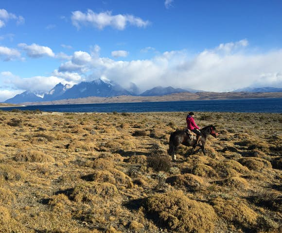 Chloe horse riding in Torres del Paine