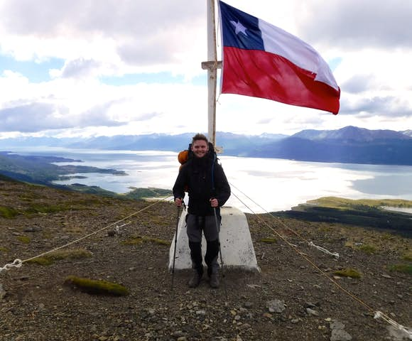 Summit of Cerro Bandera with Beagle Channel in background