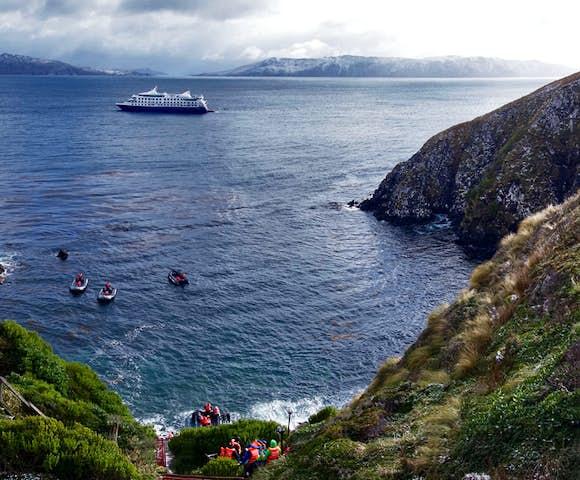 Zodiac landing at Cape Horn, Tierra del Fuego, Chile