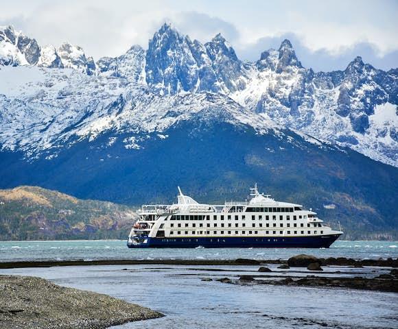 Stella Australis, Patagonian cruising vessel in the Darwin Range, Tierra del Fuego