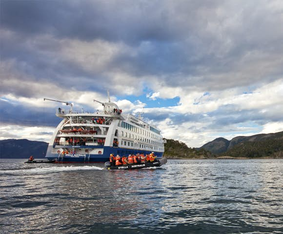 Stella Australis, Patagonian cruising vessel with dolphin leaping out of water, Patagonia