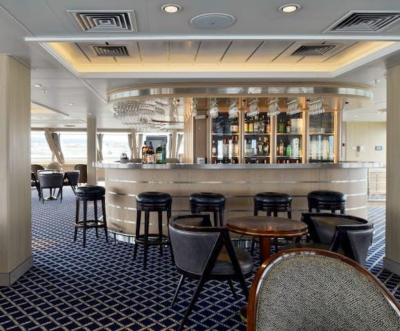 Bar on Ventus Australis Patagonian cruise ship, Patagonia