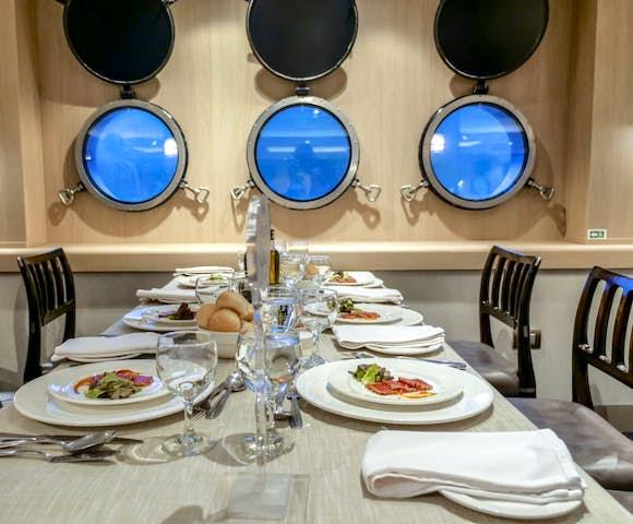 Dining Room on Ventus Australis Patagonian cruise ship, Patagonia