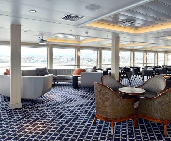 Lounge on Ventus Australis Patagonian cruise ship, Patagonia