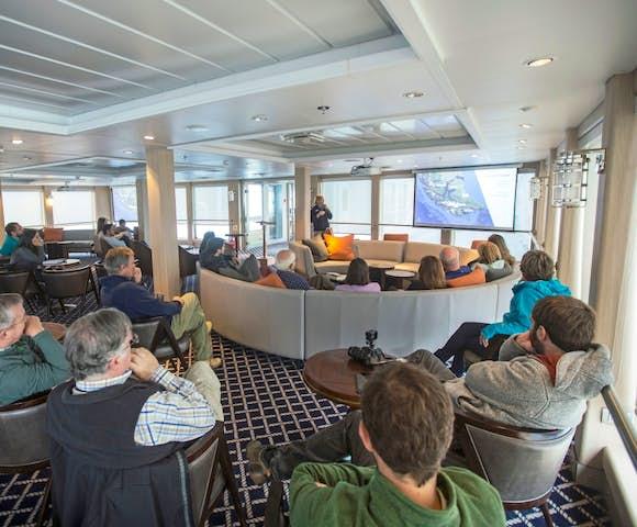 Lecture theatre on Ventus Australis Patagonian cruise ship, Patagonia