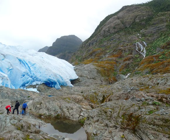 Hiking up to the glacier in San Rafael National Park