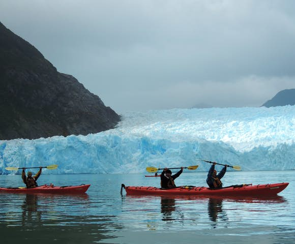 Kayaks in front of San Rafael Glacier