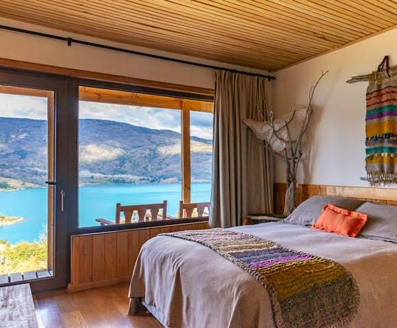 Double room at Mallin Colorado Lodge, Lago General Carrera, Patagonia, Chile