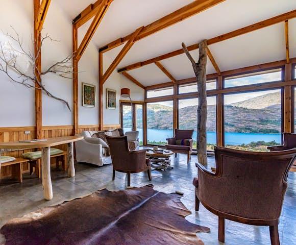 Lounge at Mallin Colorado lodge, Lago General Carrera, Patagonia, Chile