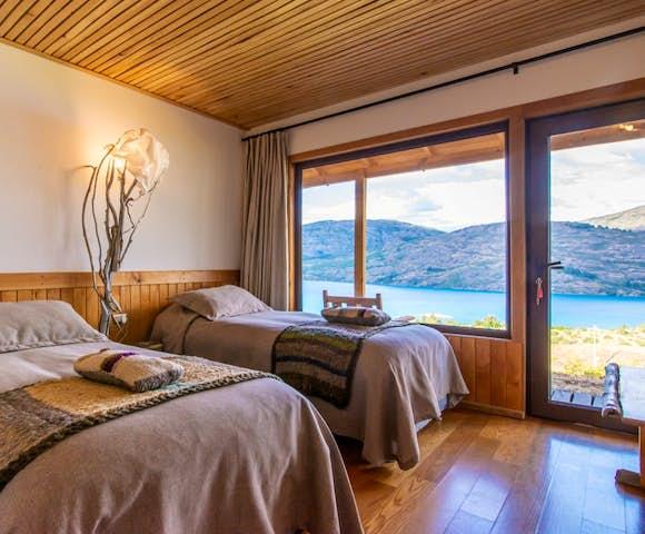 Twin room at Mallin Colorado lodge, Lago General Carrera, Patagonia, Chile