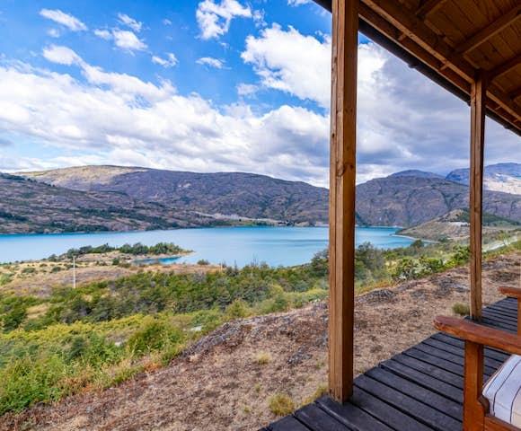 Veranda at Mallin Colorado Lodge, Lago General Carrera, Patagonia, Chile