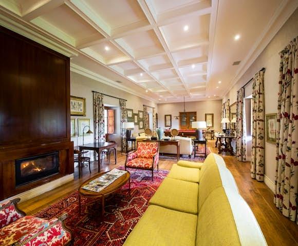 The lounge inside La Casona hotel at Matetic Vineyard, Chile