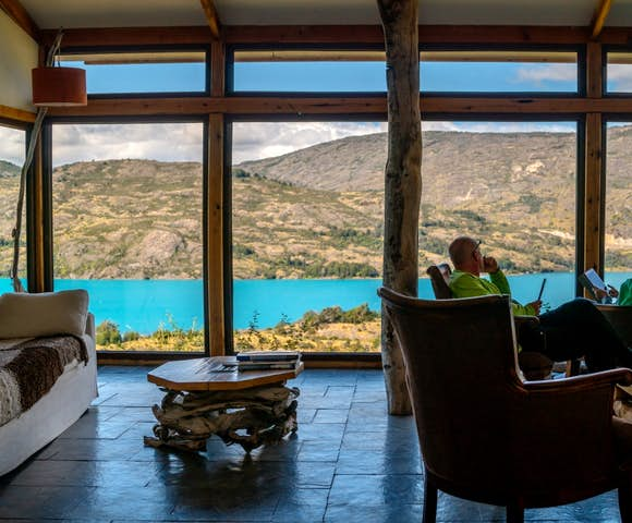 Views from the lounge at Mallin Colorado Lodge, Patagonia, Chile