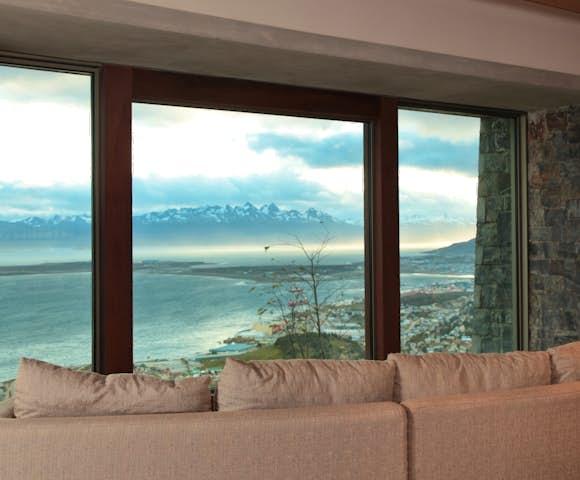Hotel Arakur seating area with view Ushuaia
