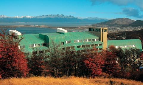 View of the Arakur hotel from behind Ushuaia