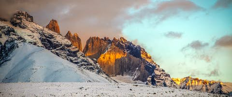 Sunset over Grey mountains ice field