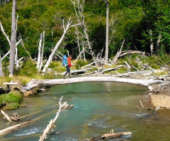 Walking on a natural bridge Trekking Tierra del Fuego